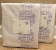 "NEW 2PC Pottery Barn Kids Mia Embroidered BLACKOUT 44x63"" Panel LAVENDER"