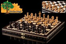 Olympic cherry jeu de dames - 35cm/14in handcrafted wooden chess set avec dames