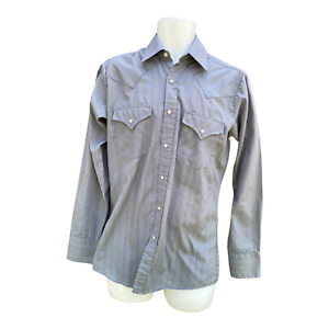 Ely Cattleman Shirt Pearl Snap Western Silver Gold Metallic Striped 14 1/2 X33 S