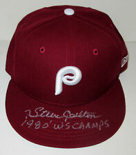 Steve Carlton Signed 1980 Phillies Baseball Cap WS Champs Insc Signing photo PSA