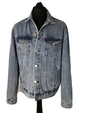NEW LOOK Men's Size LARGE Denim Jacket Blue Rinse Wash Casual Weekend R84