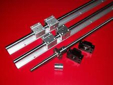 SBR16-1000mm 2 linear rail+ballscrew RM1605-1000mm+1 set BK/BF12 end bearing CNC