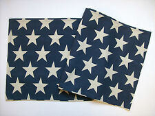 "VINTAGE STAR Blue with Cream Stars Rustic Americana 36"" Cotton Table Runner"