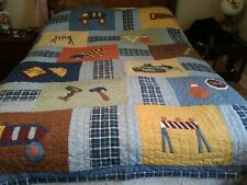 Handmade Patchwork Boys Blue w/ Construction tools/Vehicle Quilt  84 1/2 X 65