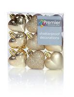 9 x Gold Heart Shaped Christmas Tree Bauble Decorations Glitter Matte & Shiny