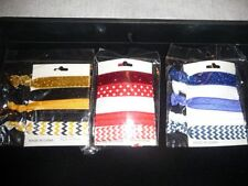 (3) 5 pack  Hair Ties Yellow,Black,Red,White,Blue New