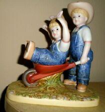 """Home Interiors Denim Days 15355 Danny and Debbie """" The Wheelbarrow """" Figurine"""