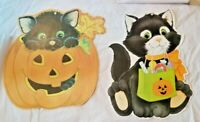 VINTAGE Eureka HALLOWEEN Die-Cut Party Decoration Black Cats And Pumpkins