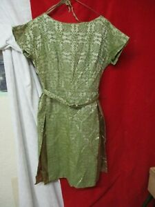 1960's olive green Woman's Dress Satin with Lace Overlay