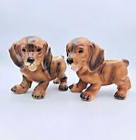 Pair of 2 Daschund Dog Puppy Ceramic Planter Vase #A4066 Napcoware Japan