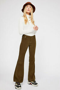 FREE PEOPLE WE THE FREE GREEN VINTAGE CORD CORDUROY FLARE PANTS SZ 25