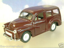 SAICO 1/26 DIECAST MORRIS MINOR TRAVELLER WITH PULL BACK MOTOR IN MAROON OVER 5""