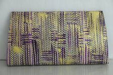 NEW Nancy Gonzalez Python Crocodile Purple Gold HUGE Clutch Bag