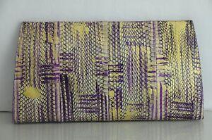 NEW Nancy Gonzalez Python Crocodile Purple Gold HUGE Clutch Bag