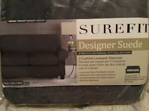 Sure Fit Designer Suede  2 Cushion Loveseat Slipcover Gray Stretch Universal Fit