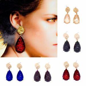 Drop Dangle Earrings Statement Gold Style Large Ear Stud Pear Stone Colours Beat