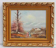 HUILE SUR TOILE MODERNE - SCENE D'AUTOMNE - CADRE EN BOIS DORÉ - 29 x 34 cm