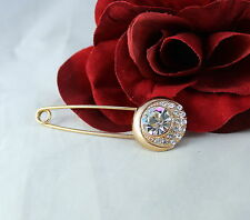 Elegant Gold tone Rhinestone Safety Pin Brooch CAT RESCUE