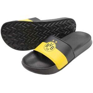 BVB Badeschlappen Badelatschen Dortmund Schuhe schwarz/gelb Logo BVB Fanartikel