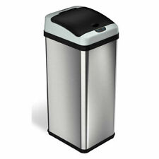 iTouchless 13 Gallon Touchless Garbage Trash Can, Stainless Steel New Open Box