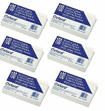 "Oxford Index Cards Ruled 3 x 5"" - 100 Cards White Commercial Quality Pack of 6"