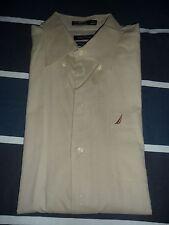 Nautica Men Vintage Oxford Fit 100% Cotton Khaki Dress Shirt  XL 17 36/37