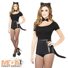 Cat + Ears + Tail Ladies Fancy Dress Animal Halloween Womens Costume Accessories