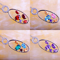 Amethyst & Ruby Spinel Blue & Green Topaz Gemstone Silver Chain Necklace Pendant