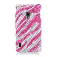 LG Lucid 2 VS870 Crystal Diamond BLING Hard Case Phone Cover Silver Pink Zebra