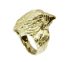 M057- HEAVY 9ct Yellow GOLD MENS Eagle Falcon Ring - Fine Detail Biker  size 10