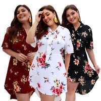 New Women Floral Print V Neck High Low Blouse Shirt Bow Tie Mini Dress Plus Size