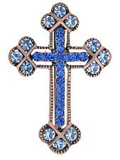 Women Copper Tone Sapphire Blue Colored Rhinestones Holy Cross Brooch Pin New