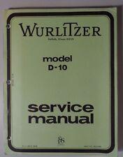 Wurlitzer Model D-10 Organ Service Manual