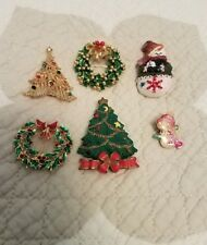 6 Christmas Holiday Pins Tree Snowman Wreath