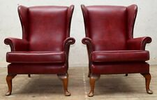 """PAIR PARKER KNOLL """"PENSHURST"""" OXBLOOD FAUX LEATHER WING/QUEEN ANNE CHAIRS"""