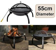 e2e Black Steel 55cm Patio Heater Garden Firepit Fire Pit Barbecue Barbeque BBQ