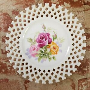 Lefton Hand Painted Roses Collectors Plate Lattice Edge USA 6350FL