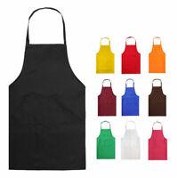 Black Plain Halter Neck Apron Waiter Baker Chefs Full Bib Apron Kitchen Pocket