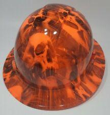 New Full Brim Hard Hat Custom Hydro Dipped Candy Orange Melting Skulls