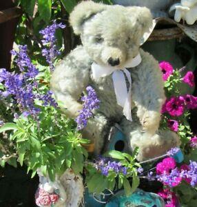 """VINTAGE MERRYTHOUGHT ENGLAND MOHAIR GROWL TEDDY BEAR RARE BLUE 15"""" WEBBED CLAWS"""