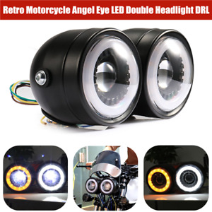 LED Retro Motorcycle Double Front Headlamp Angel Eye Daytime Running Turn Signal