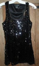 WILLI SMITH Black Sexy Party Disco Evening Sequins Sparkly Cocktail Tank Top S