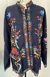 Norm Thompson NWT Silk Beautiful Floral Embroidered Jacket Sz L Black Rare