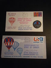 TWO 2/1973 Spirit of Canada CARRIED Balloon Mail covers Signed by Stan Sheldrake