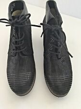 Wolky Jacquerie Black Houndstooth Leather Ankle Boots Lace-Up 5.5-6 EU 36  wome