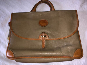 Vintage Dooney & Bourke All Weather Leather Briefcase Laptop Bag Taupe DB184