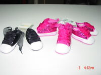 NWT Infant Girls Pre Walking Shoes Pink Black Jazz Sequins Fancy Ribbons Sweet