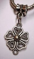 Flower Daisy Floral Garden Rose Dangle Bead for Silver European Charm Bracelet