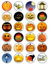 HALLOWEEN LANTERN & PUMPKIN CUP CAKE TOPPERS DECORATIONS ON EDIBLE RICE PAPER