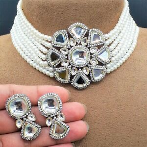 New Indian Bollywood Kundan Choker Necklace Bridal Pearl Wedding CZ Jewelry Sets